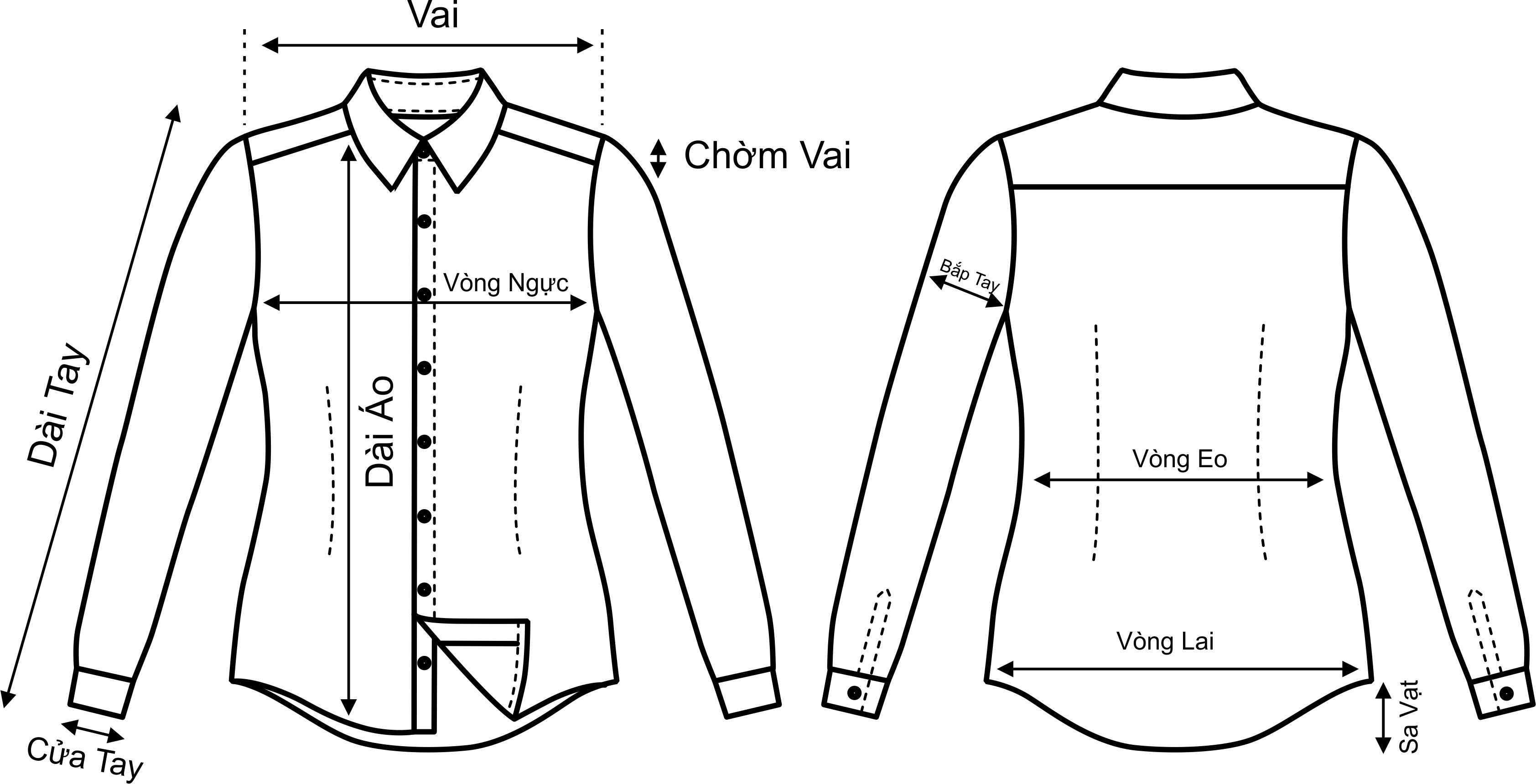 Cách đo áo sơ mi nữ