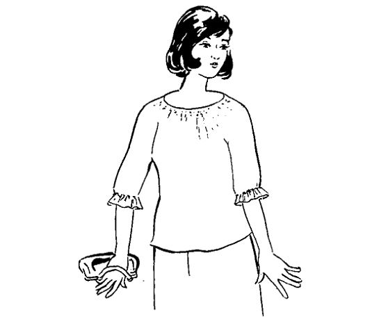 áo kiểu tay raglan cổ nhún thân vừa