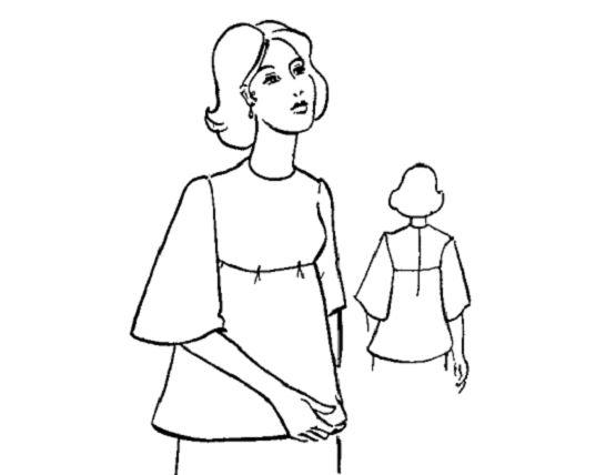 áo tay ráp có đường chân ngực, tay loa, cổ tròn, gắn dây kéo sau lưng