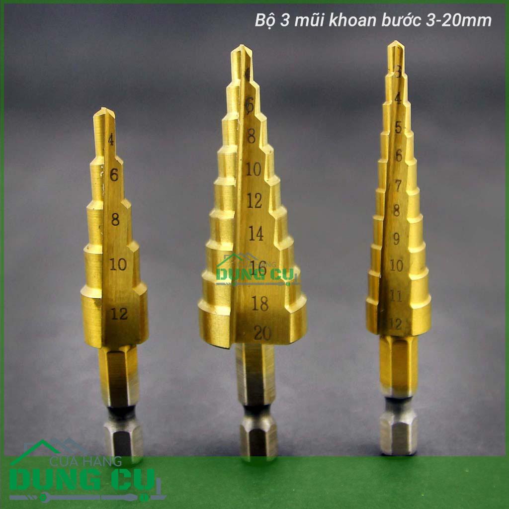 Bộ 3 mũi khoan bước 3-20mm