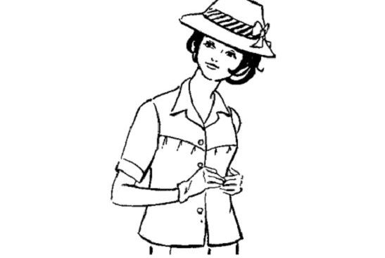 Cắt may áo có ngực và cầu vai cài nút trước