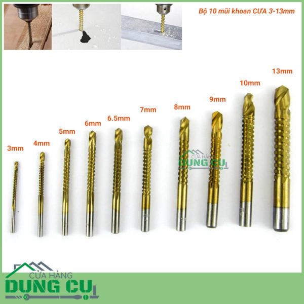 Bộ 10 mũi khoan cưa đa năng 3-13mm