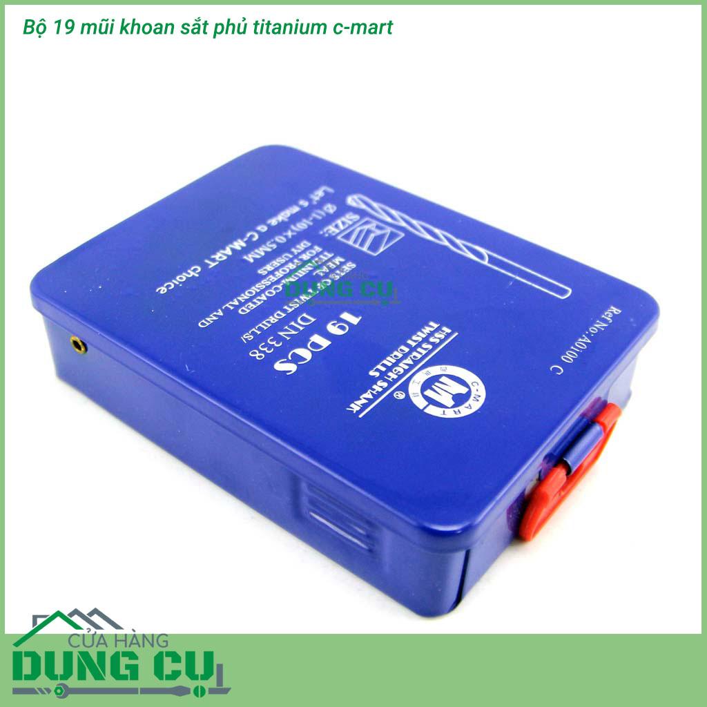 Bộ 19 mũi khoan sắt phủ titanium 1-10mm A0100C C-Mart Tools chuẩn DIN 338