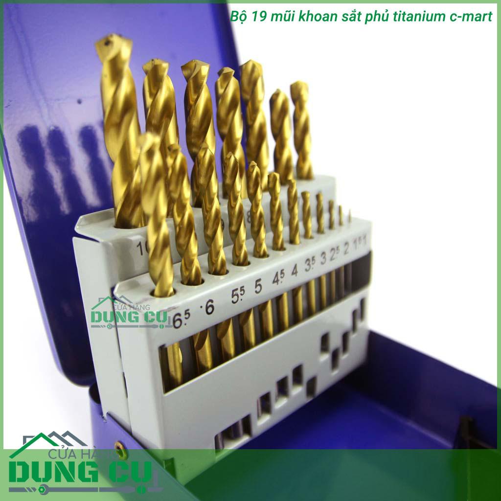 Bộ 19 mũi khoan sắt phủ titanium 1-10mm cmart