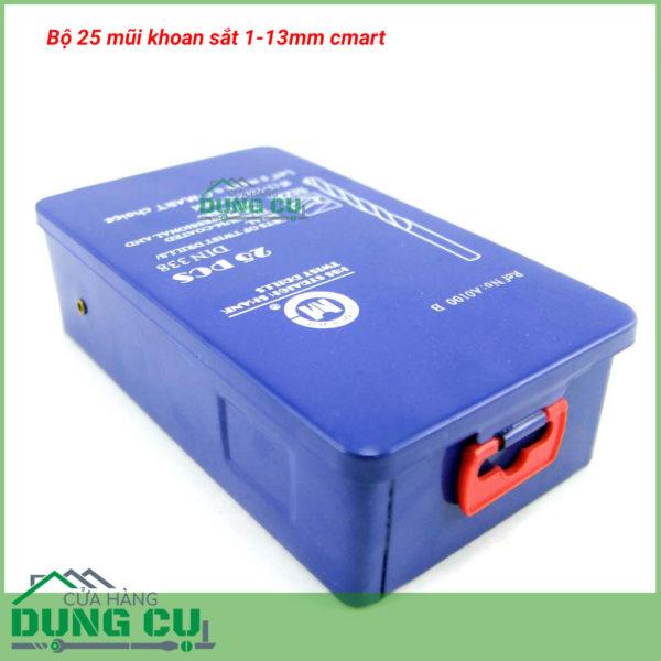 Bộ 25 mũi khoan sắt 1-13mm A0100B C-Mart Tools,DIN 338, HSS TiN