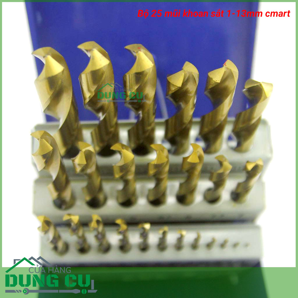 Bộ 25 mũi khoan sắt 1-13mm cmart