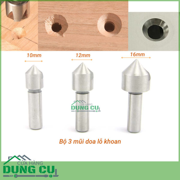 Bộ 3 mũi doa lỗ khoan nhôm, gỗ lưỡi đơn 10-16mm thép gió HSS4241