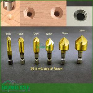 Bộ 6 mũi doa lỗ khoan gô và kim loại 6-19mm