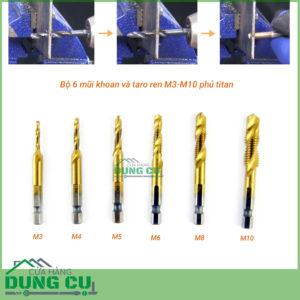 Bộ 6 mũi khoan và taro ren M3-M10 phủ titanium
