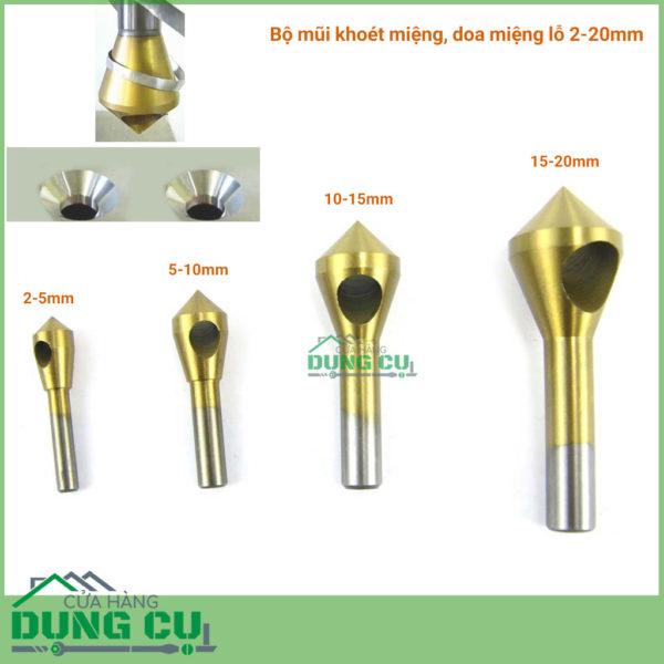 Bộ 4 mũi doa lỗ kim loại dạng đầu nón lỗ phay xiên 2-20mm phủ titanium
