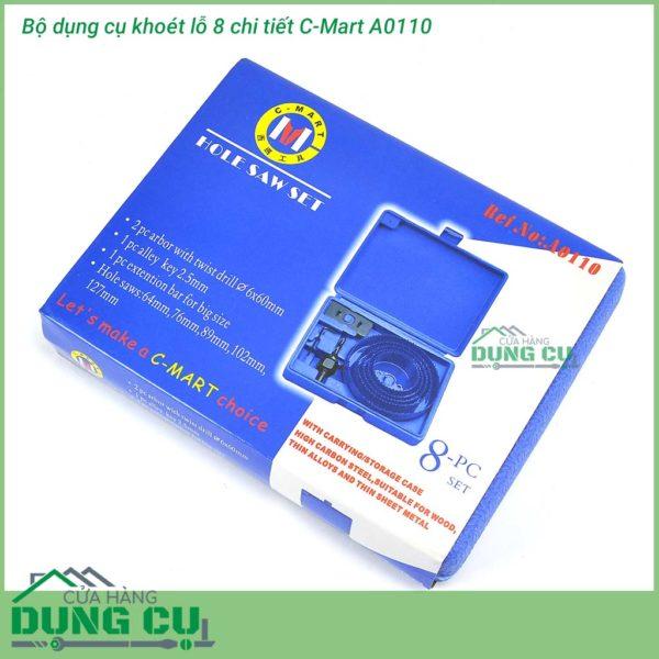 Bộ dụng cụ khoét lỗ 8 chi tiết C-Mart A0110