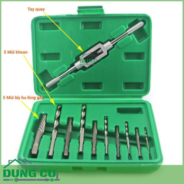 Bộ dụng cụ lấy bu lông ốc vít gãy 11 chi tiết