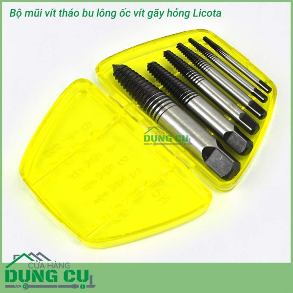 Bộ mũi vít tháo bu lông ốc vít gãy hỏng 6 chiếc Licota