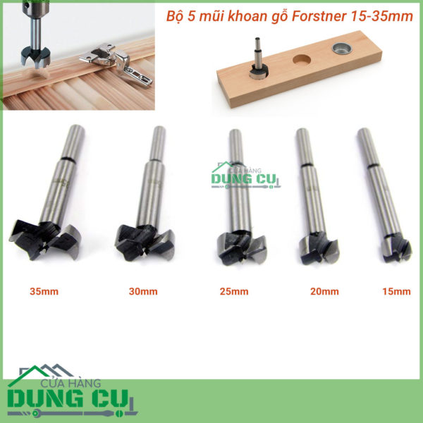 Bộ 5 mũi khoan gỗ kiểu forstner 10-35mm khoan bản lề