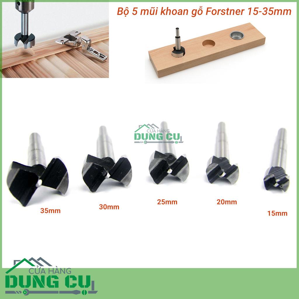 Bộ 5 mũi khoan gỗ forstner 15-35mm