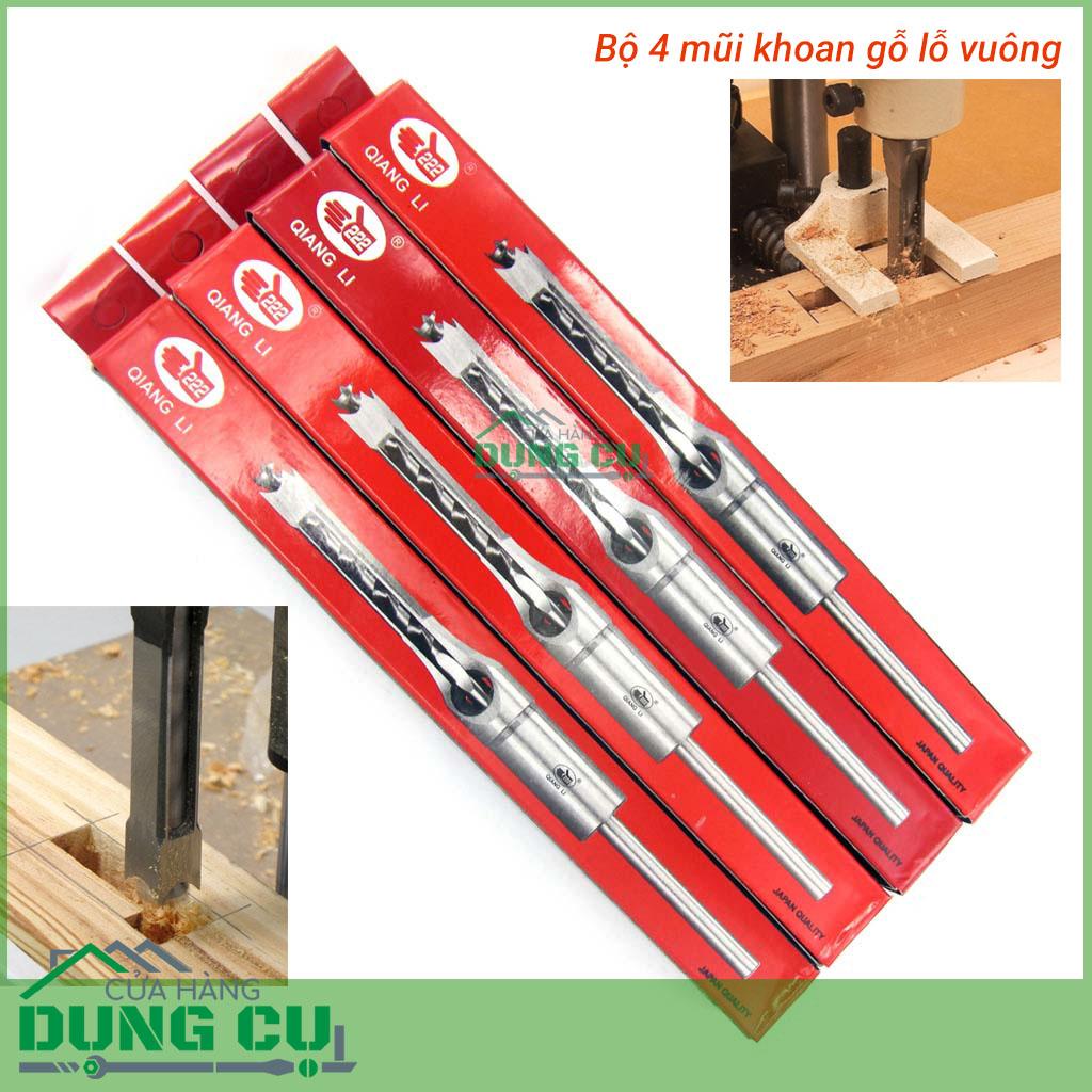 Bộ 4 mũi khoan đục lỗ vuông tạo mộng trên gỗ 6.5-12.7mm