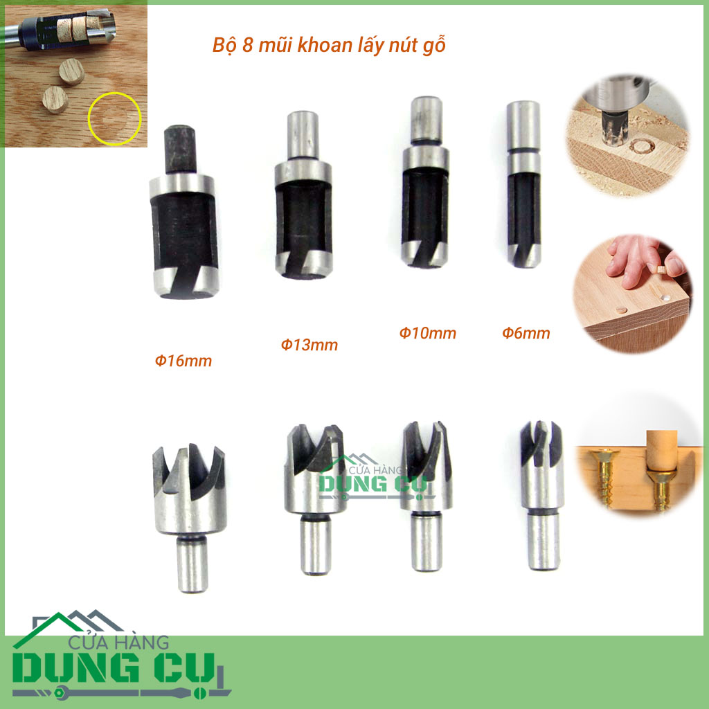 Bộ 8 mũi khoan lấy nút gỗ Φ6mm-Φ16mm