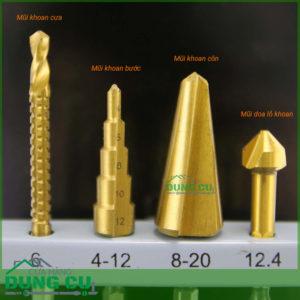 Bộ 4 mũi khoan ống tấm tổng hợp (khoan cưa,khoan thap;khoan côn;doa lỗ)