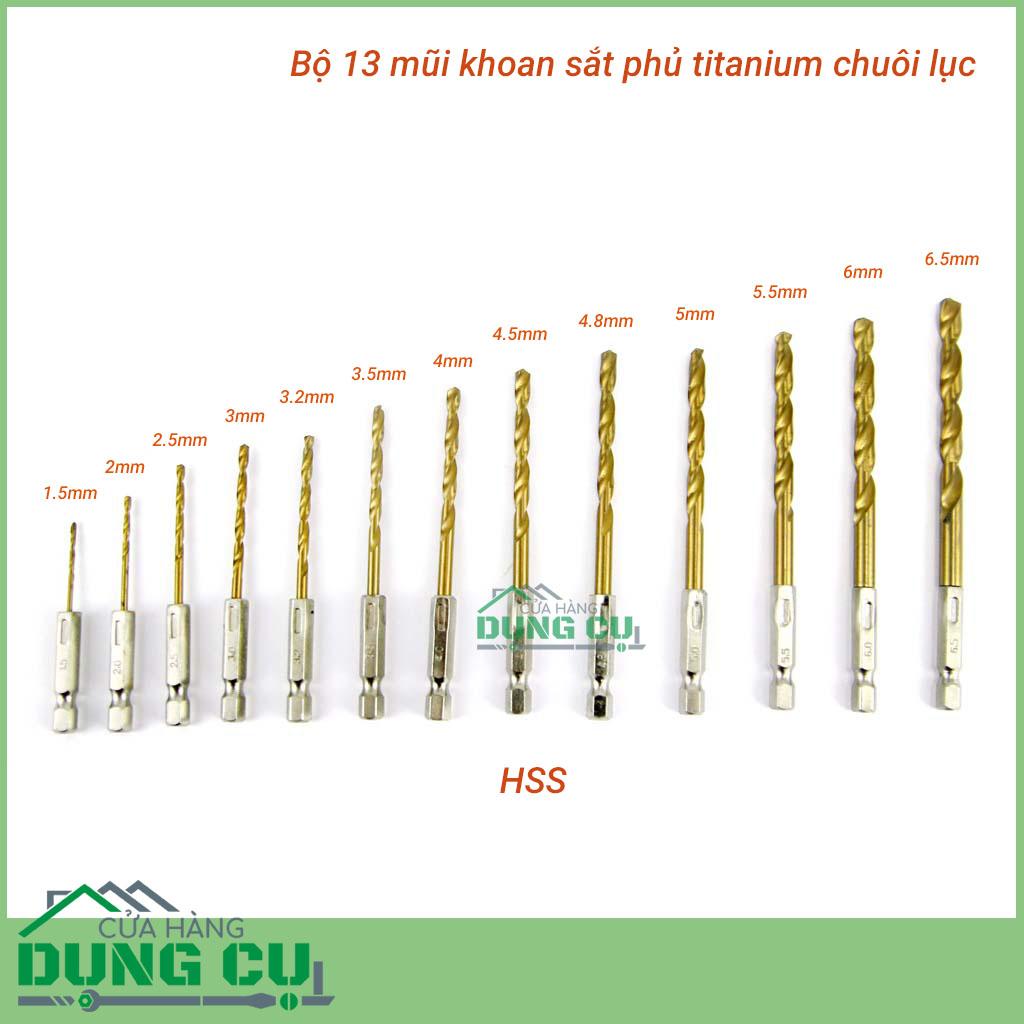 Bộ 13 mũi khoan sắt chuôi lục giác 1.5-6.5mm phủ titan