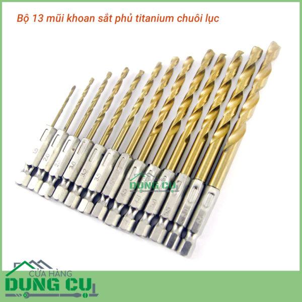 Bộ 13 mũi khoan sắt 1.5-6.5mm chuôi lục giác phủ titanium