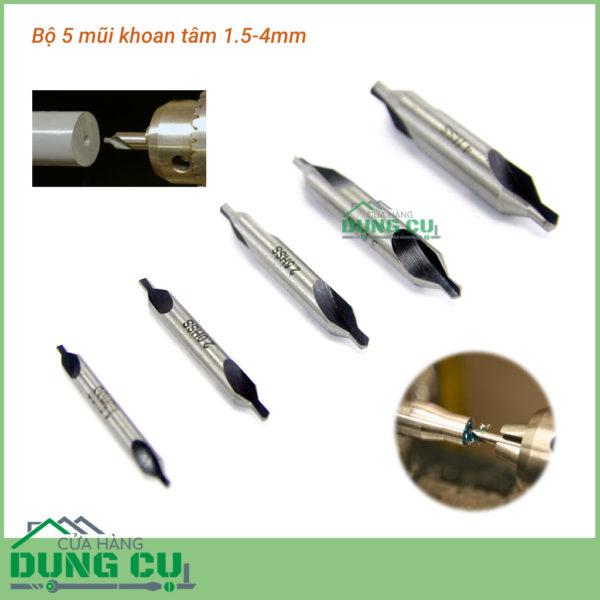 Bộ 5 mũi khoan tâm 1.5-4mm