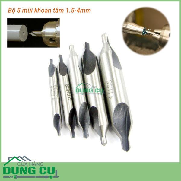 Bộ 5 mũi khoan định tâm đầu 1.5-4mm, góc côn chuẩn 60°
