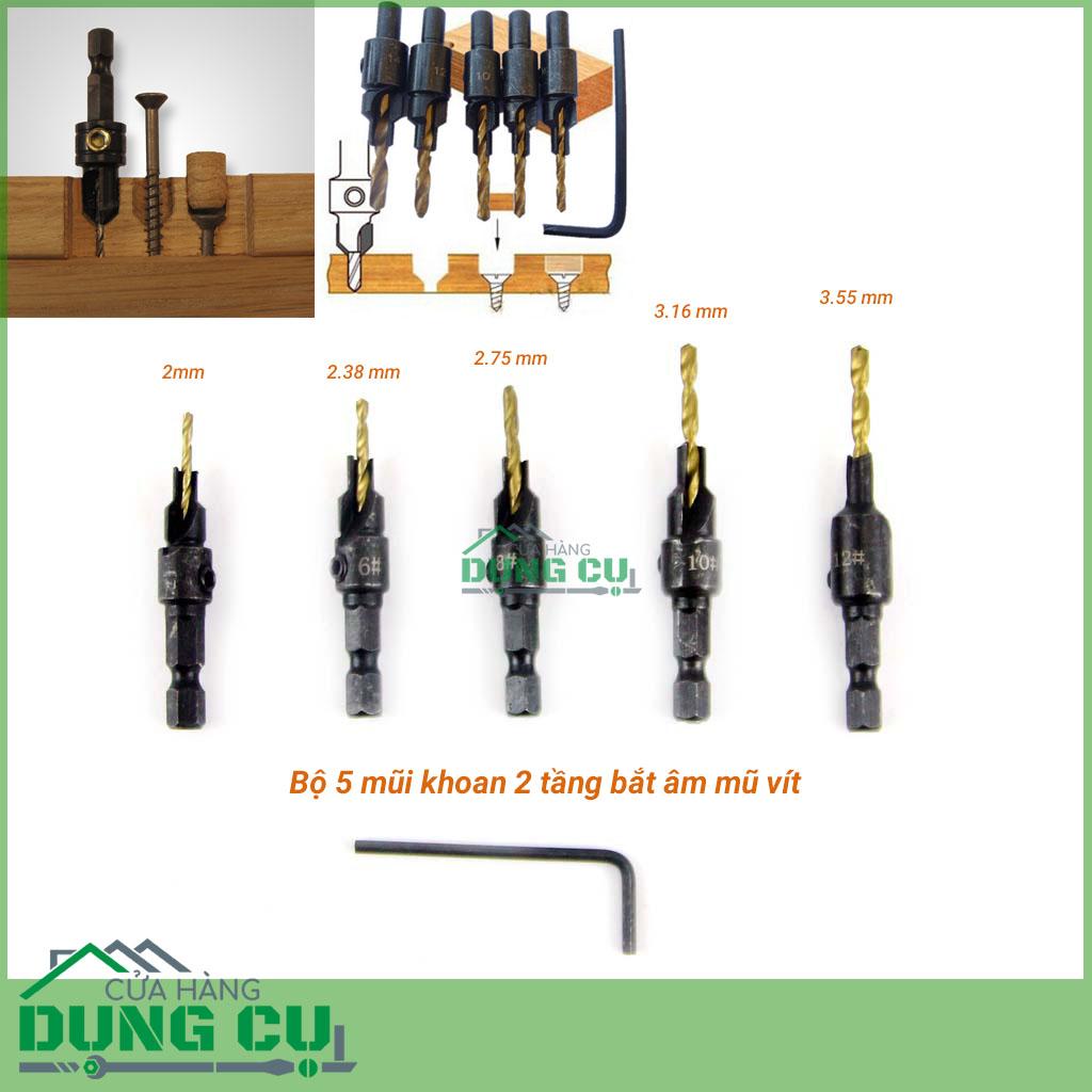 Bộ 5 mũi khoan tầng bắt âm mũ vít 2-3.55mm