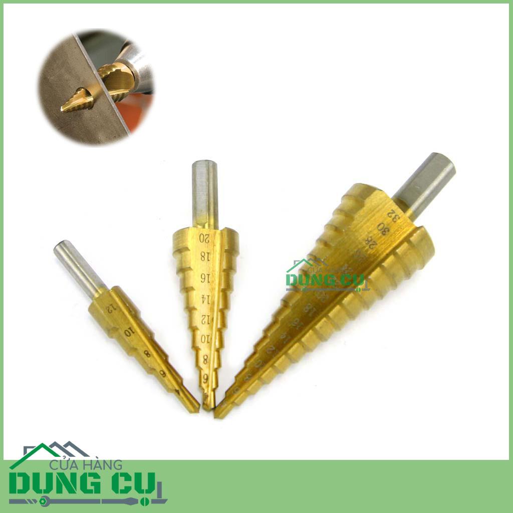Bộ 3 mũi khoan bước rãnh thẳng chuôi tròn 4-32mm