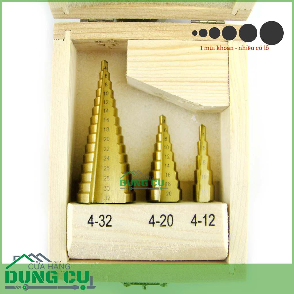 Hộp 3 mũi khoan bước thẳng 4-32mm thép HSS phủ CBN chuôi lục giác
