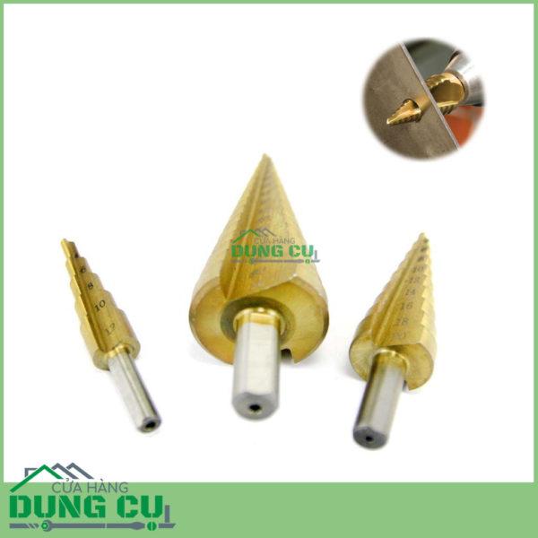 Bộ 3 mũi khoan bước thẳng 4-32mm khoan tấm sắt chuôi tròn