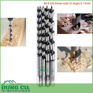 Bộ 5 mũi khoan gỗ xoắn ốc auger 6-14mm