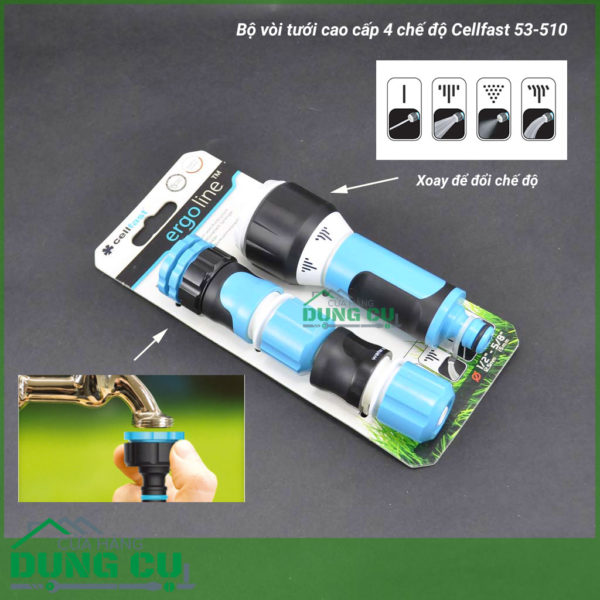 Bộ vòi tưới xoay 4 chế độ Cellfast 53-510