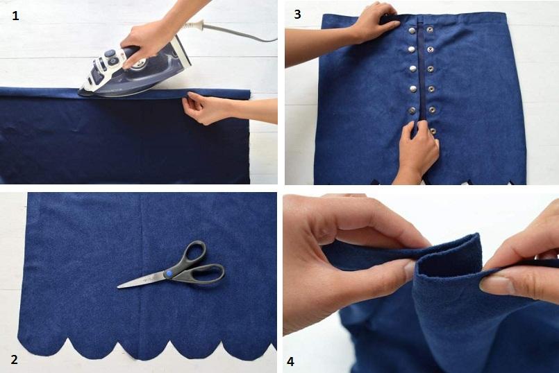 Hướng dẫn cắt may chân váy da lộn bấm nút