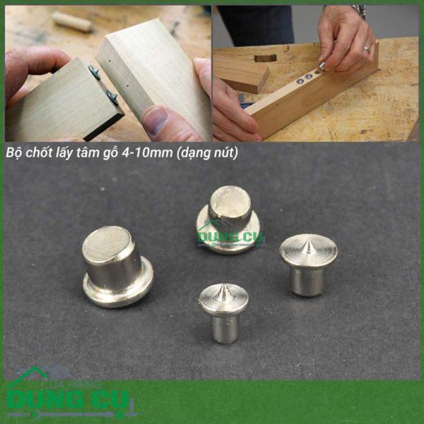 Bộ chốt lấy tâm gỗ inox dạng nút