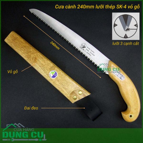 Cưa gỗ cưa cành cây vỏ gỗ lưỡi dài 240mm thép SK4 Nhật