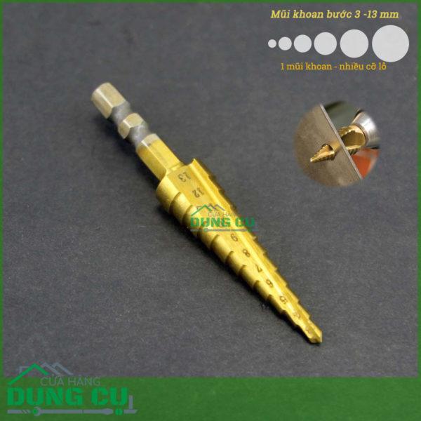 Mũi khoan bước nhỏ kích thước từ 3-13mm
