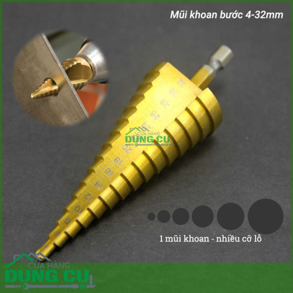Mũi khoan tầng bước thẳng 15 bước từ 4-32mm HSS TiN độ cứng 63