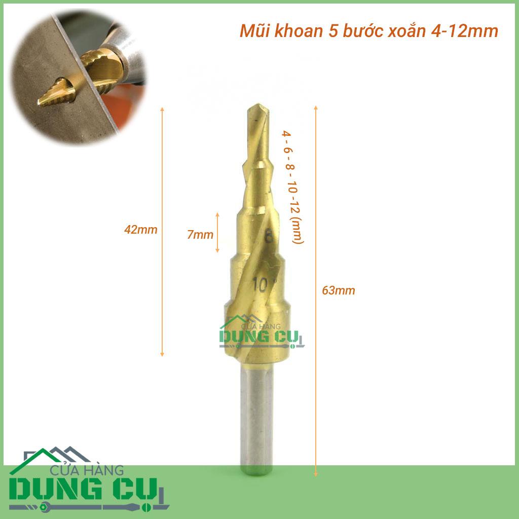 Mũi khoan bước 5 bước xoắn 4-12mm chuôi tròn phủ titanium