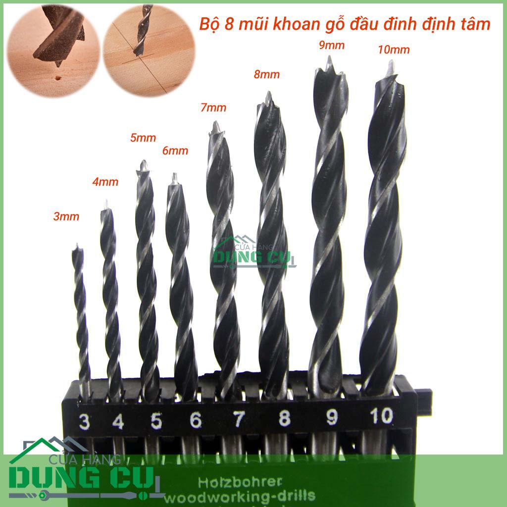Bộ 8 mũi khoan gỗ đầu đinh định tâm 3-10mm
