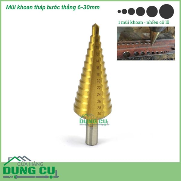 Mũi khoan tháp bước thẳng 6-30mm thép HSS phủ TiN Taiwan