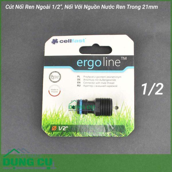 Cút Nối Ren Ngoài Cao Cấp Cellfast Ergo 1/2″, Nối Với Nguồn Nước Ren Trong 21mm