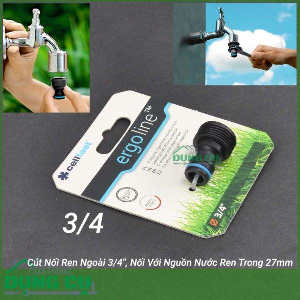 Cút Nối Ren Ngoài Cao Cấp Cellfast Ergo 3/4″, Nối Với Nguồn Nước Ren Trong 27mm