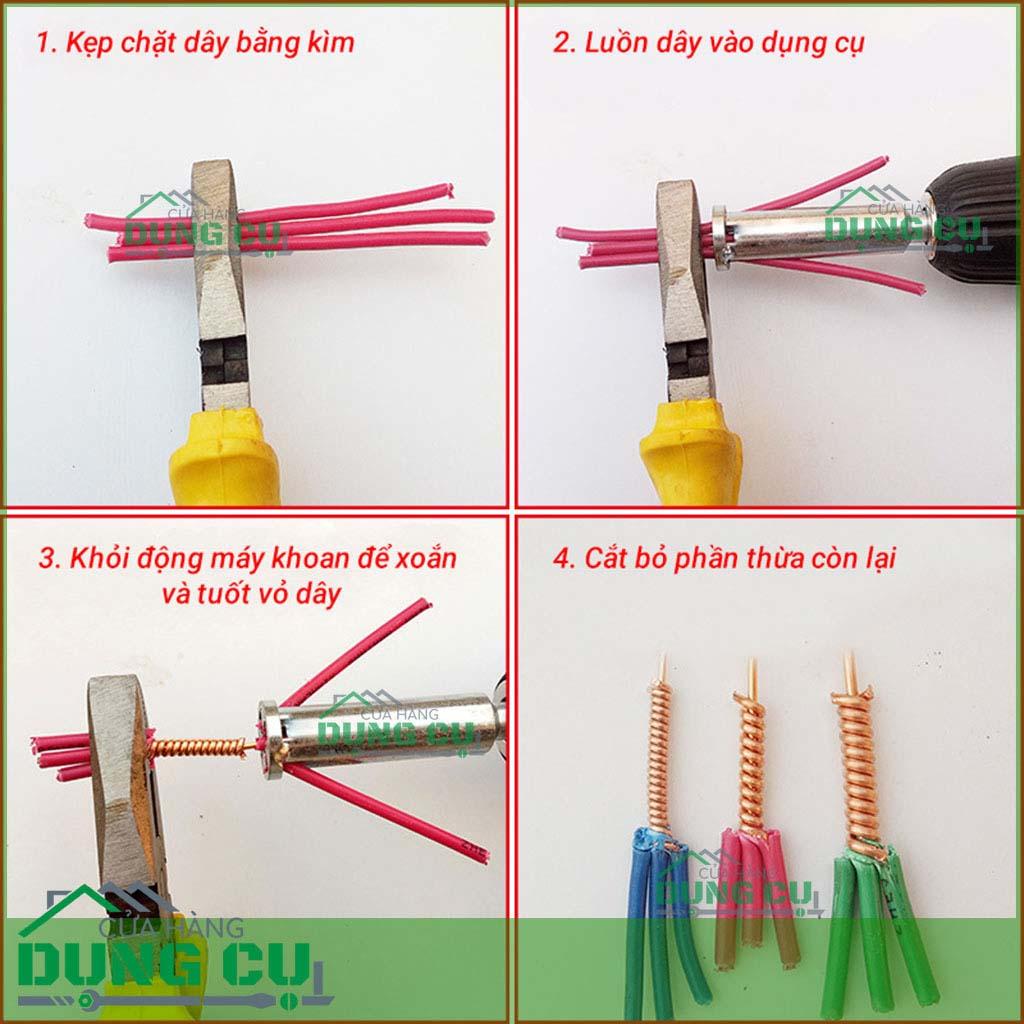 Đầu xoắn nối dây điện gắn máy khoan 2.5mm