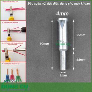 Đầu xoắn nối dây điện gắn máy khoan 4mm