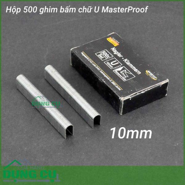 Hộp 500 ghim bấm gỗ chữ U Masterproof 10mm