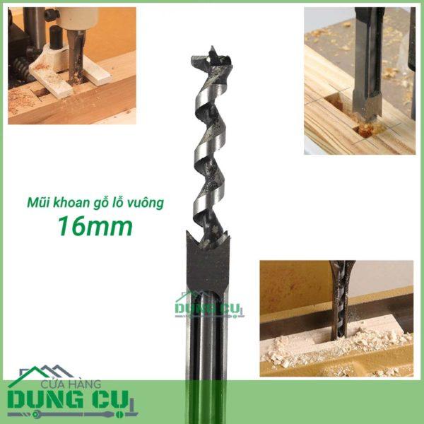 Mũi khoan gỗ đục mộng vuông 16mm