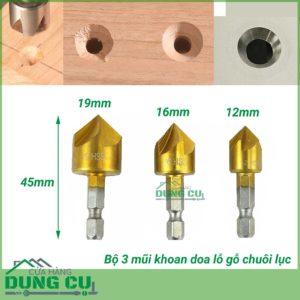 Bộ 3 mũi doa lỗ gỗ chuôi lục thép HSS phủ TiN