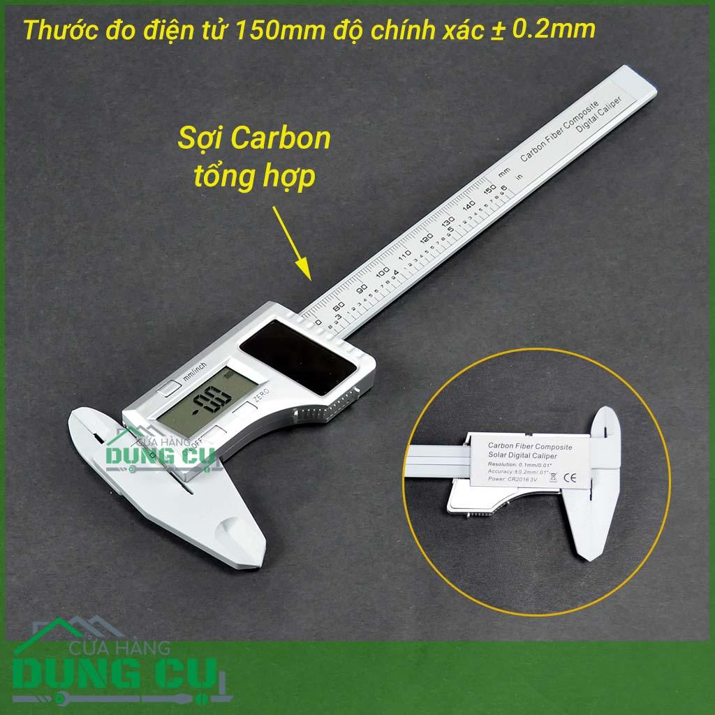 Thước đo điện tử 150mm pin năng lượng mặt trời