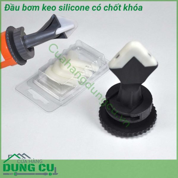 Bộ đầu bơm keo silicone có chốt giữ