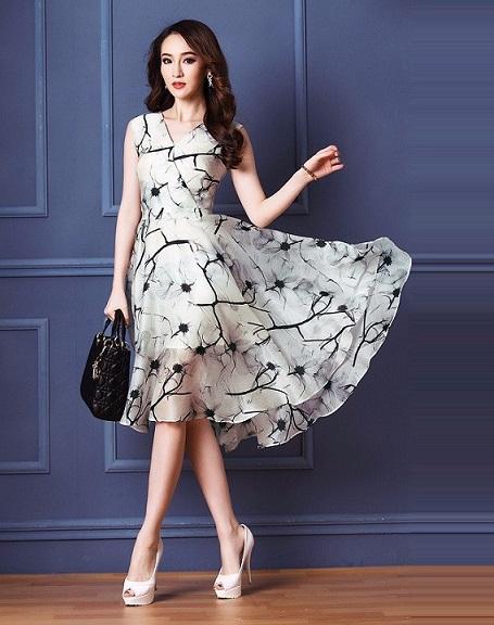 Học may váy xòe liền thân